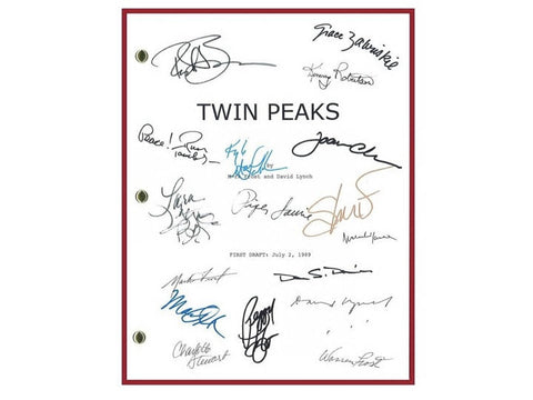 Twin Peaks Pilot Episode TV Script Autographed: David Lynch, Mark Frost, Lara Flynn Boyle, Sherilyn Fenn, Peggy Lipton, Warren Frost