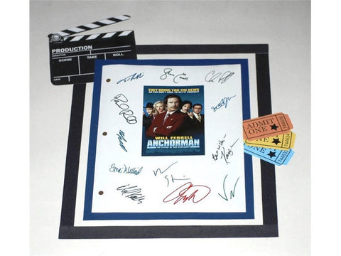 Anchorman Movie Screenplay Script Autographed: Will Ferrell, Vince Vaughn, Paul RUdd, Steve Carrell, Christina Applegate, Ben Stiller