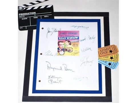 Rear Window Movie Screenplay Script Autographed Alfred Hitchcock, James Stewart, Grace Kelly, Wendell Corey, Thelma Ritter, Gig Young