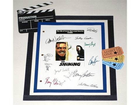 The Shining Movie Screenplay Script Autographed Stephen King, Jack Nicholson, Shelley Duvall, Tony Burton, Danny Lloyd, Barry Dennen