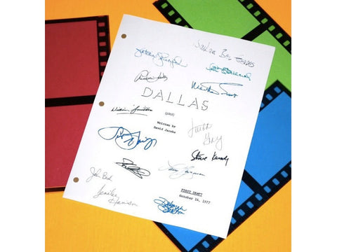 Dallas Pilot Episode TV Script Signature Autographs: Victoria Principle, Susan Howard, Larry Hagman, Barbara Bel Geddes, Linda Gray