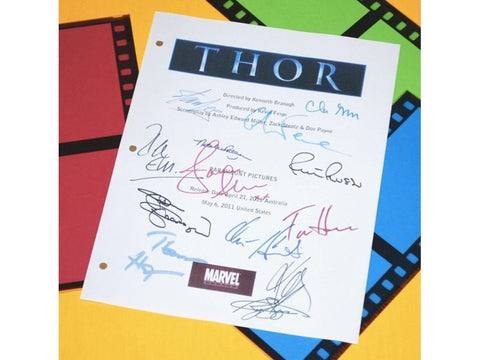 Thor Movie Screenplay Script Autographed: Chris Hemsworth, Natalie Portman, Anthony Hopkins, Stellan Skarsgard, Clark Gregg, Rene Russo