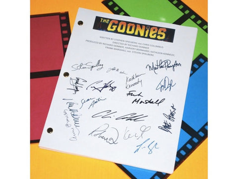 The Goonies Movie Screenplay Script Autographed: Steven Spielberg, Sean Astin, Josh Brolin, Jeff Cohen, Corey Feldman, Martha Plimpton