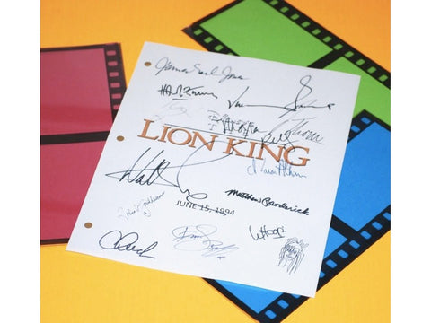 The Lion King Movie Screenplay Script Autographed: Jonathan Taylor Thomas, Matthew Broderick, James Earl, Whoopi Goldberg