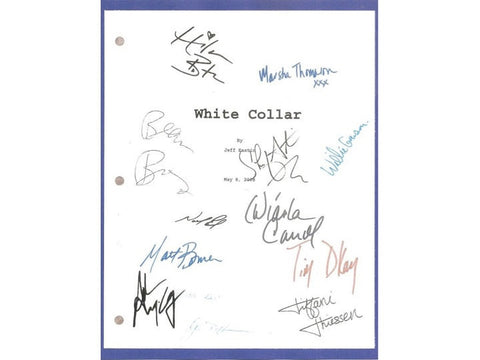 White Collar Pilot Episode TV Script Screenplay Autograph: Matt Bomer, Tim Dekay, Willie Garson, Tiffani Thiessen, Hilarie Burton