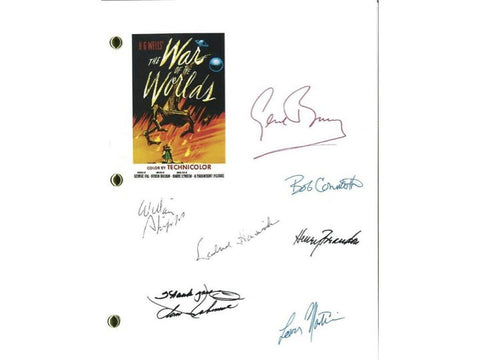The War of the Worlds Entire Movie Script Screenplay Autographed: Gene Barry, Ann Robinson, Bob Cornthwaite, Lewis Marti, Bill Phipps