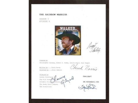 "Walker Texas Ranger ""The Rainbow Warrior"" TV Script Autographed: Chuck Norris, Clarence Gilyard, Sheree J Wilson, August Schellenberg"