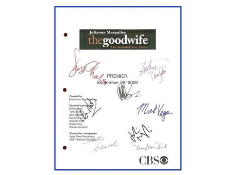 The Goodwife Pilot Episode Television Script Autographed: Julianna Margulies, Archie Panjabi, Josh Charles, Christine Baranski, Chris Noth