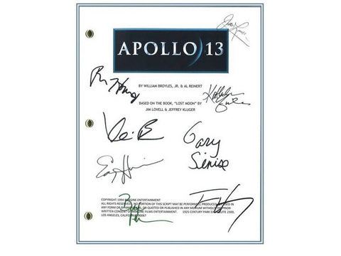 Apollo 13 Signed Screenplay Autographed: Ron Howard, Jim Lovell, Tom Hanks, Gary Sinise, Kevin Bacon, Bill Paxton, Ed Harris