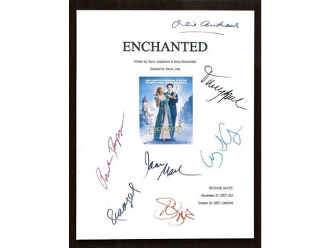 Enchanted Movie Script Signed Screenplay Autographed: Amy Adam, James Marsden, Timothy Spall, Patrick Dempsey, Idina Menzel