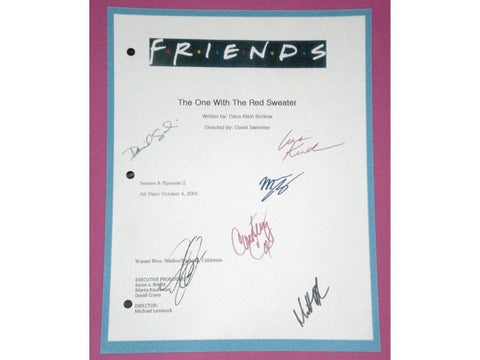 "Friends ""The One With The Red Sweater"" Episode TV Script Autographed: David Schwimmer, Jennifer Aniston, Courtney Cox, Matt LeBlanc"