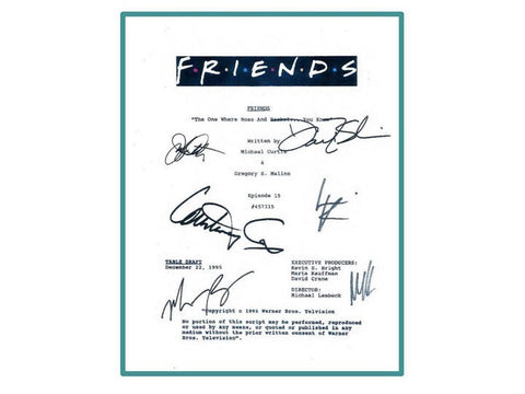 "Friends ""The One Where Ross and Rachel...You Know"" Episode TV Script Autographed: David Schwimmer, Jennifer Aniston, Courtney Cox"