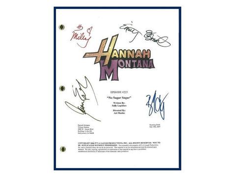 "Hannah Montana ""No Sugar Sugar"" Episode TV Script Signature Autographs: Miley Cyrus, Emily Osment, Jason Earles, Billy Ray Cyrus"