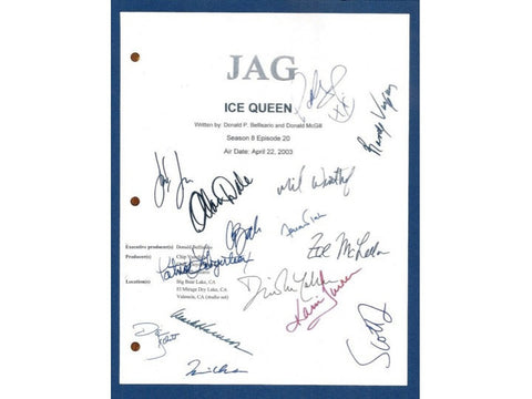 Jag Ice Queen Episode TV Script Signature Autographs: John M. Jackson, Scott Lawrence, David James Elliott, Mark Harmon, Karri Turner