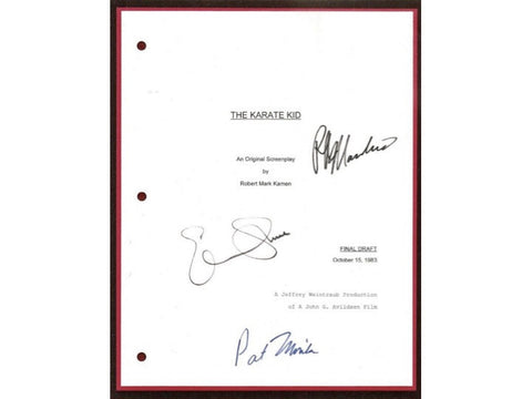 The Karate Kid Movie Script Signed Screenplay Autographed: Ralph Macchio, Pat Morita, Elisabeth Shue