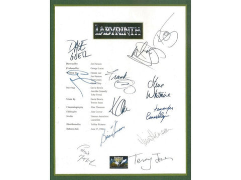 Labyrinth Movie Script Signed Screenplay Autographed: David Bowie, George Lucas, Jennifer Connelly, Terry Jones, Jim Henson, Frank Oz