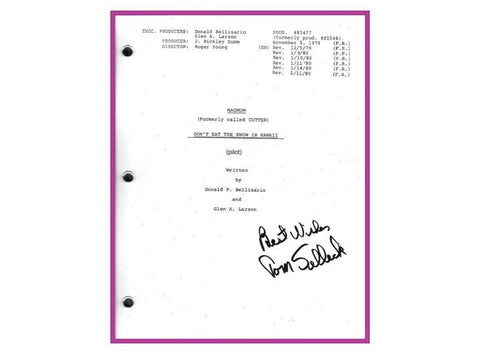 "Magnum P.I. Pilot Episode ""Don't Eat The Snow in Hawaii"" TV Script Autographed: Tom Selleck"