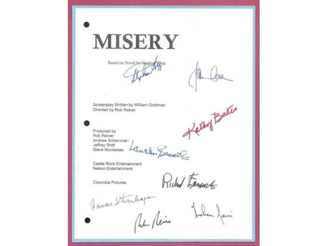Misery Movie Script Signed Screenplay Autographed: Rob Reiner, James Caan, Stephen King, Kathy Bates, Richard Farnsworth, Lauren Bacall