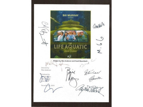 The Life Aquatic with Steve Zissou Movie Script Signed Screenplay Autographed: Bill Murray, Owen Wilson, Cate Blanchett, Anjelica Huston