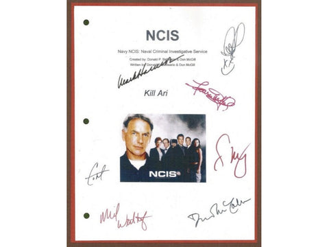 NCIS Kill Ari Episode TV Script Autographed: Mark Harmon, Sasha Alexander, Michael Weatherly, Pauley Perrette, Sean Murray