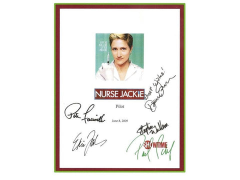 Nurse Jackie Pilot Episode 2009 TV Script Autographed: Edie Falco, Paul Schulze, Peter Facinelli, Dominic Fumusa, Stephen Wallem