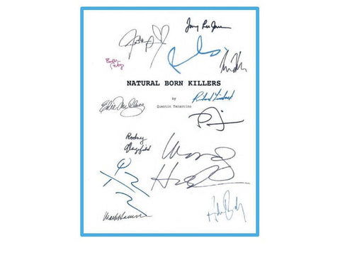 Natural Born Killers 1994 Movie Script Signed Screenplay Autographed: Oliver Stone, Quentin Tarantino, Woody Harrelson, Robert Downey Jr.