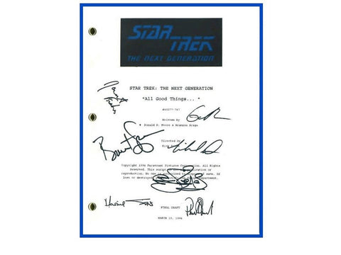 "Star Trek Next Generation ""All Good Things..."" Final Draft Episode TV Script Autographed: Michael Dorn, Brent Spiner, Lavar Burton"