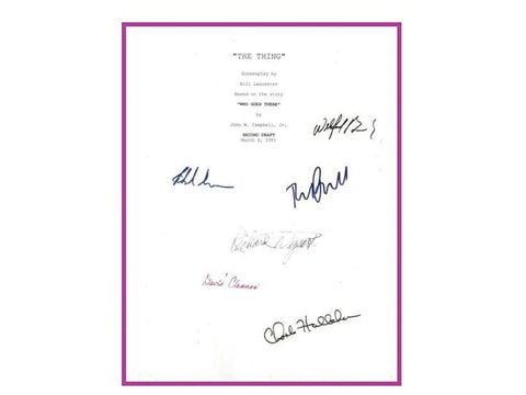 The Thing Movie Script Autographed Signed: Kurt Russell, Wilford Brimley, Richard Masur, David Clennon, Richard Dysart
