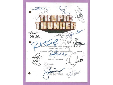 Tropic Thunder Movie Script Autographed Signed: Ben Stiller, Robert Downey Jr., Jack Black, Jay Baruchel, Nick Nolte, Tom Cruise, Tom Hanks