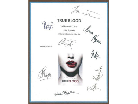 True Blood Pilot Episode Television Script Autographed Signed: Anna Paquin, Stephen Moyer, Nelsan Ellis, Alan Ball, Sam Trammell