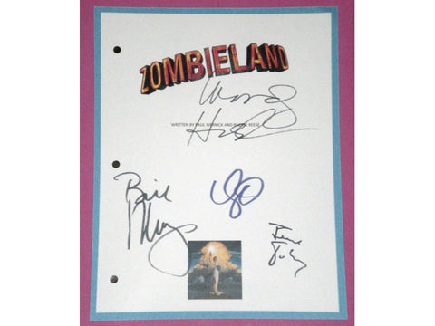 Zombieland Movie Signed Script Screenplay Autographed: Jesse Eisenberg, Emma Stone, Woody Harrelson, Bill Murray