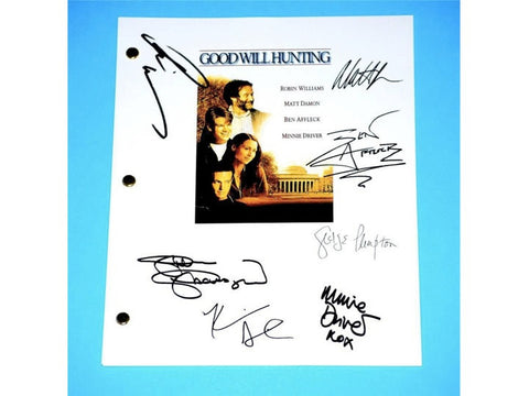 Goodwill Hunting Movie Signed Script Screenplay Autographed: Ben Afleck, Matt Demon, Robin Williams, Kevin Smith, George Plimpton