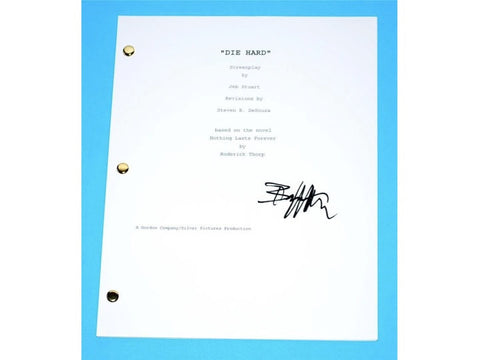 Die Hard Movie Signed Script Screenplay Written By Jeb Stuart, Autographed: Bruce Willis