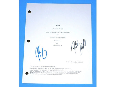 "Psych ""Zero To Murder in Sixty Seconds"" Episode TV Script Autographed: Dule Hill, James Roday"