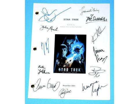 Star Trek 2007 Movie Signed Script Screenplay Autographed: Chris Pine, Leonard Nimoy, Zachary Quinto, Bruce Greenwood, Simon Pegg, John Cho