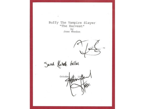 "Buffy The Vampire Slayer ""The Harvest"" Episode TV Script Autographed: Sarah Michelle Geller, Anthony Stewart Head, Nicholas Brendon"