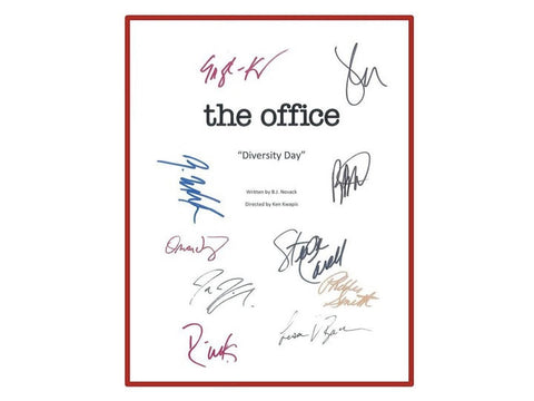 "The Office ""Diversity Day"" Episode TV Script Autographed: Steve Carell, John Krasinski, Jenna Fischer, Rainn Wilson, Oscar Nunez"
