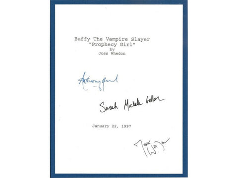 "Buffy The Vampire Slayer ""Prophecy Girl"" 1997 Episode TV Script Autographed: Sarah Michelle Geller, Joss Whedon, Anthony Stewart Head"
