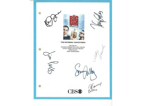 "The Big Bang Theory ""Maternal Capacitance"" Episode TV Script Autographed: Johnny Galecki, Simon Helberg, Jim Parsons, Kaley Cuoco"