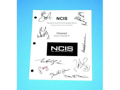 "NCIS ""Chained"" Episode TV Script Autographed: Mark Harmonn, Sasha Alexander, Michael Weatherly, Pauley Perrette, Sean Murray, Megan Ward"