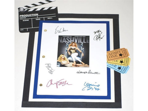 Nashville Pilot Episode TV Script Autographed: Connie Britton, Hayden Panettiere, Eric Close, Charles Esten, Jonathan Jackson, Powers Booth