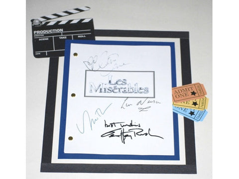 Les Miserables 1998 Movie Script Signed Screenplay Autographed: Liam Neeson, Geoffrey Rush, Uma Thurman, Claire Danes