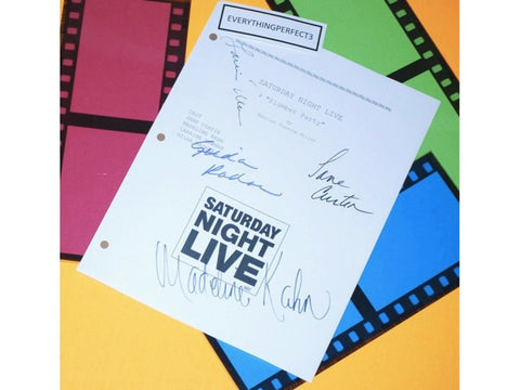 "Saturday Night Life ""Slumber Party"" Episode TV Script Autographed: Gilda Radner, Jane Curtin, Madeline Kahn, Laraine Newman"