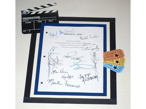 Jurassic Park Movie Script Signed Screenplay Autographed Steven Spielberg, Michael Crichton, Laura Dern, Sam Neill, Samuel L. Jackson & More