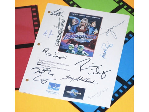 Galaxy Quest Movie Script Signed Screenplay Autographed: Tim Allen, Sigourney Weaver, Alan Rickman, Tony Shalhoub, Sam Rockwell & More
