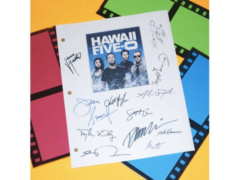 Hawaii Five - 0 Pilot TV Episode Autographed: Alex O'Loughlin, Scott Caan, Daniel Dae Kim, Grace Park, Jean Smart, Masi Oka, Taylor Wily