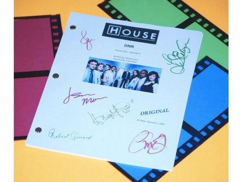 House DNR TV Episode Autographed: Hugh Laurie, Lisa Edelstein, Omar Epps, Robert Sean Leonard, Jennifer Morrison, Jesse Spencer
