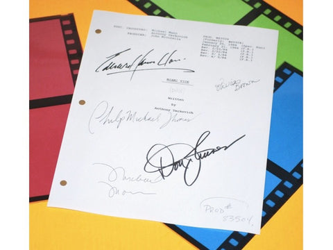 Miami Vice Pilot TV Episode Autographed: Don Johnson, Michael Mann, Olivia Brown, Philip Michael, Edward James Olmes