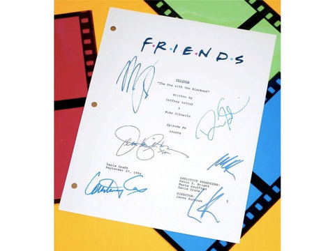 "Friends ""The One With The Blackout"" TV Episode Autographed: Jennifer Aniston, Courtney Cox, David Schwimmer, Matthew Perry, Lisa Kudrow"