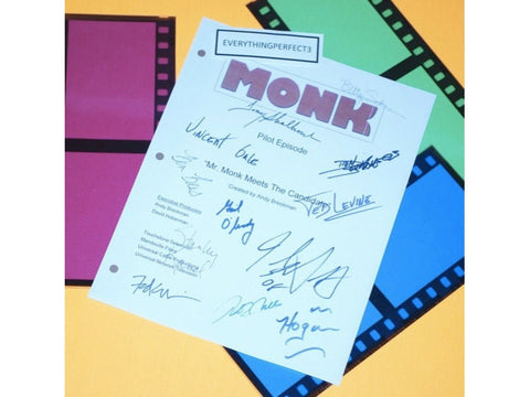 Monk Pilot TV Episode Autographed: Tony Shalhoub, Bitty Schram, Ted Levine, Jason Gray-Stanford, Vincent Gale, Ben Bass, Stanley Kamel